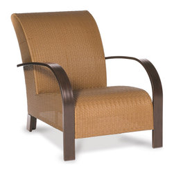 Thos. Baker - moderne club chair - Virtually an entire new category of outdoor furniture, moderne collection seating features premium, all-weather N-dura��_��__ wicker woven over reticulated (rapid water-shedding) foam.  The foam is sandwiched between the wicker and a powder-coated aluminum subframe providing comfort and support without the expense or inconvenience of separate cushions.