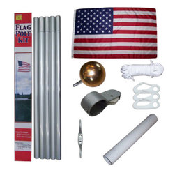 "Heath - Aluminum Flag Pole Kit - 20 foot Aluminum Flag Pole Set comes complete with a 2"" satin finish aluminum pole, ground box, cleat, aluminum truck with gold ball cap, and halyard. Includes deluxe quality 3' X 5' poly/cotton American flag. Flag is an all-dyed design with rich colors. Reinforced double-stitched fly end to resist fraying. Our longest lasting flag for everyday use. Flag is proudly made in the U.S.A."