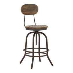 "Zuo - Zuo Twin Peaks Distressed Wood Counter Chair - Early 20th century style counter height chair. Distressed solid elm wood top. Antiqued metal base and accents. Height adjusts with vintage-look mechanism. A chic addition to your home from Zuo Modern. 16 1/2"" wide. 16 /2"" deep. 41 3/4"" high. Seat is 14 1/4"" square. Seat is 24 1/2"" high. Some assembly required.  Early 20th century style counter height chair.  Distressed solid elm wood top.  Antiqued metal base and accents.  Height adjusts with vintage-look mechanism.  A chic addition to your home from Zuo Modern.  16 1/2"" wide.  16 /2"" deep.  41 3/4"" high.  Seat is 14 1/4"" square.  Seat is 24 1/2"" high.  Some assembly required."