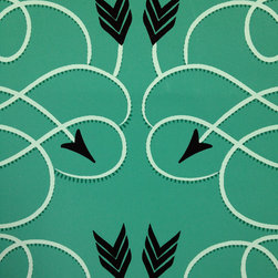 Grow House Grow - Tackapousha Wallpaper, Mermaid, Sample - Aim for high style! This bold yet graceful wallpaper, which is hand-printed and made in the USA, translates archery into art and hits the bull's-eye beautifully.
