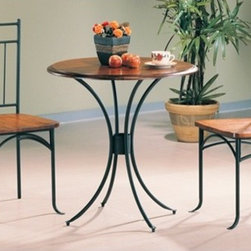 Wildon Home � - Beaverton 3 Piece Dining Set - Features: -Casual style.-Black metal frame.-Smooth clean edges and black metal legs and pedestal.-Smooth wooden top.-Set includes 1 bistro table and two chairs.-Distressed: No.