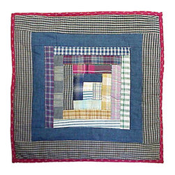 Patch Quilts - Wild Goose Log Cabin Toss Pillow 16 x 16 Inch - Decorative patchwork quilted pillow  - Accents with ensembles and bedding items from Patch Magic   - Machine washable  - Line or Flat dry only Patch Quilts - TPWGLC
