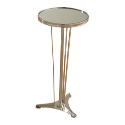 French Moderne Side Table - The French Moderne Side Table is a polished piece with the narrow cafe-inspired look of a butler's table. With inlaid grain in its round top and a brilliant nickel finish over its frame, the sleek little accent table stands on a sculptural cluster of reed-thin legs that rise from a minimal tripod pedestal to balance the round top. Perfect for setting aside a cocktail for a moment as you get comfortable on your trim sofa, it also looks wonderful supporting a more horizontal lamp.