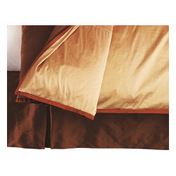 """Mystic Valley - Mystic Valley Traders Profiles Silk Bronze - Bed Skirt, King - The Profiles Silk Bronze bed skirt is fashioned from the Bronze fabric; it is lined and tailored with an inverted foot pleat and double-inverted side pleats and Russet pleat inserts, featuring a bottom blue grosgrain accent, with a 16"""" drop."""