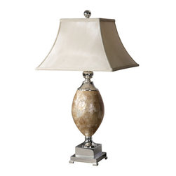 Uttermost - Uttermost 26981 Pearl Shell and Silver Plated Table Lamp - Uttermost 26981 Carolyn Kinder Pearl Table LampThis lamp base is roasted, Mother of Pearl with silver plated metal accents. The square bell shade is a silkened champagne textile.Features: