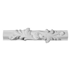"""Ekena Millwork - 10 5/8""""W x 2 3/4""""H x 3/4""""P Ashford Floral Panel Moulding Center - 10 5/8""""W x 2 3/4""""H x 3/4""""P Ashford Floral Panel Moulding Center. Our beautiful panel moulding and corners add a decorative, historic, feel to walls, ceilings, and furniture pieces. They are made from a high density urethane which gives each piece the unique details that mimic that of traditional plaster and wood designs, but at a fraction of the weight. This means a simple and easy installation for you. The best part is you can make your own shapes and sizes by simply cutting the moulding piece down to size, and then butting them up to the decorative corners. These are also commonly used for an inexpensive wainscot look."""