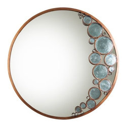 Varaluz - Fascination Mirror by Varaluz - Reflect absolutely fascinating style with the Varaluz Fascination Mirror. This large mirror is an impressive three feet around, but what really sets it apart is the crescent of shimmering recycled glass discs set in rings of recycled steel. This design feature is at once bubbly and elegant, available in three distinctive glass/finish combinations. 70% recycled steel, 100% recycled glass, 0% recycled style. Varaluz Lighting develops handmade fixtures created from recycled or reclaimed materials styled in a broad range of lighting genres from period to transitional and contemporary. Varaluz light fixtures that are like jewelry for the home, crafted to be relevant for generations.