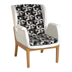 La Viola Decor - Relax Contemporary Armchair, White-Black - This uniquely designed Relax armchair is expertly crafted around a sturdy steel frame to make your sitting experience not only comforting and enjoyable, but also appealing. Designed with expert taste and modernist appeal this contemporary design of Relax armchair attract modern art lovers. This armchair is trendy and lively, and capable of inspiring your living space. With soft cushioning and masterfully crafted rectangular shapes of wooden frame, this armchair was expertly crafted to fit around your body to make your sitting experience relaxing and enjoyable.