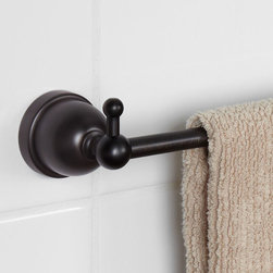 Cade Towel Bar & Dual Robe Hooks - A simplistic and elegant design makes the Cade Collection Towel Bar & Dual Robe Hooks a great addition to any bathroom style. This piece can be displayed in a clean and flawless manner with the concealed mounting hardware.