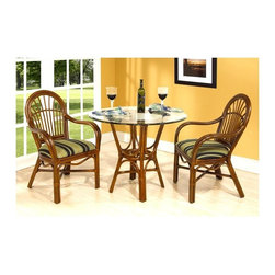 Boca Rattan - Amarillo 3 Pc Rattan Bistro Table Set (641) - Fabric: 641Graceful curves and traditional design elements are given a warm, appealing update through this charming three-piece rattan dining set, an island inspired collection that will be a perfect choice for a breakfast nook or an enclosed patio or sun porch. The set includes a glass topped table and two bamboo and rattan arm chairs with cushions in your choice of colors. Set includes table and 4 arm chairs. Cushion included. Indoor use only. Bevel glass top. Leather bindings. Constructed from strong and durable rattan. Table: 30 in. Dia. x 29 in. H (60 lbs.), Glass top: 42 in. Dia.. Arm chair: 23.5 in. W x 22.75 in. D x 37 in. H (25 lbs.)