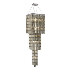 """PWG Lighting / Lighting By Pecaso - Chantal 14-Light 16"""" Crystal Chandelier 1728G54C-GT-SS - The unique design of the Chantal Collection inspires any room setting. Dazzling spectacles of light sparkles throughout the fixture creating a modern, yet timeless beauty and elegance."""