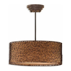 """Uttermost - Uttermost 21153  Brandon 3 Light Brown Drum Pendant - Contemporary metal abstract design finished in a distressed dark brown with a rust glaze and silken bronze fabric liner. comes with 15"""" of wire for adjustability in height."""