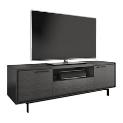 """BDI - Signal Tall TV Stand, Graphite - The Tall Signal Entertainment Shelf supports your TV in style. Features like an open compartment, 2 side doors and a center flip-down door offer plenty of storage for your media and accessories. Available in a walnut or graphite finish, the Signal Entertainment Cabinet supports up to an 85"""" TV. Turn your TV Stand into an TV Stand with the Signal Cabinet from BDI."""