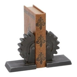 """Benzara - Library Metal Bookend Pair 10""""W, 7""""H - Library Metal Bookend Pair 10""""W, 7""""H. Some assembly may be required."""