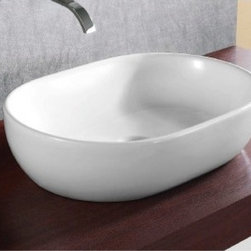 "Caracalla - Sleek Round White Ceramic Vessel Bathroom Sink by Caracalla - Sleek contemporary above counter vessel sink made of high quality white ceramic. Oval shaped bathroom sink designed in Italy by Caracalla. Washbasin comes without overflow or faucet holes. Sink dimensions: 24.02"" (width), 6.69"" (height), 17.32"" (depth)"