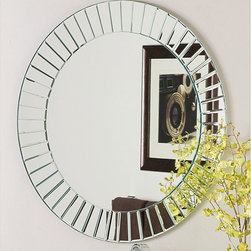 None - Glow Modern Frameless Wall Mirror - Add a modern touch to any room with this round frameless wall mirror from Glow Modern. The decorative mirror features an eye-catching beveled border that gives the piece a contemporary flair and is sure to make the mirror stand out in any home.