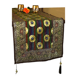 Banarsi Designs - Luxurious Satin 70-Inch by 12-Inch Hand Embroidered Table Runner - This vivid and colorful Luxurious Satin Table Runner from Banarsi Designs has been crafted using a combination of smooth multi-colored fine silk and gorgeous hand crafted embroidery.