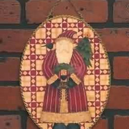 Flue Cover Santa/Quilt Oval - Flue Cover Santa/Quilt Oval - This Old fashioned flue cover makes a great decoration just about anywhere. Buy online at rensup and get FREE complimentary shipping for orders over $125