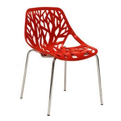 "LexMod - Stencil Dining Side Chair in Red - Stencil Dining Side Chair in Red - Find your inner catalyst with this activating dining chair. Watch as a tree is carefully depicted in Stencil's telling journey between enigmatic forests and song-filled remembrances. Let sunlight filter through and nurture experiences of enduring light. Set Includes: One - Stencil Chair Organic leafy forest motif, Either indoor or outdoor use, Modern dining or accent chair, Chrome plated steel base, Molded plastic seat, Stackable Overall Product Dimensions: 21""L x 21""W x 31""H Seat Height: 16.5""H - Mid Century Modern Furniture."
