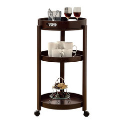 Monarch Specialties Casual Tea Cart w/ Serving Tray in Cappuccino