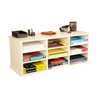 Venture Horizon - 9 Compartment Organizer - White - 9 Compartment Unit Neatly Organizes Desk Clutter. This versatile storage system features 6 adjustable shelves for storage and sorting. Reposition shelves to accommodate large books and binders. Stack units on floor or desk to create a wall of storage. You can also stand the units on end and use as a bookcase. Each unit is 13in. high x 31in. wide x 12in. deep and weighs 28 lbs. Constructed from durable, stain resistant melamine laminated particleboard that is stain resistant and easy to clean. Available in black, white, maple and oak. Easy assembly required. Made in the USA.