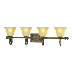 Dolan Designs Lighting - Four-Light Vanity Light with Octagonal Shades - 4774-34 - This four-light bathroom fixture light features elegant scroll work along with octagonal bell-shaped glass shades. The amber-iridescent shade allows for bright yet diffused illumination. Takes (4) 100-watt incandescent A19 bulb(s). Bulb(s) sold separately. Dry location rated.