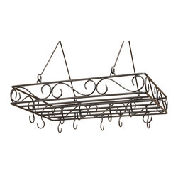 J&J Wire - 28 in. Pot and Pan Rack - Pot and pans not included. Includes twelve welded hooks. Heavy construction. Welded fabrication. Elegant scrolled design. Made from sturdy wrought iron. Made in USA. Custom dark pewter powder coated finish. No assembly required. 29 in. W x 19 in. D x 7 in. H (15 lbs.)This elegant scrolled pot and pan rack will complement any kitchen. Twelve intricately spaced welded hooks will give you multiple options when displaying. Sturdy wrought iron cured under heat to produce a custom dark pewter powder-coat finish.
