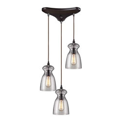 Elk Lighting - Elk Lighting 60043-3 Menlow Park Transitional Multi Light Mini Pendant Light - Elk Lighting 60043-3 Menlow Park Transitional Multi Light Mini Pendant Light in Oiled Bronze