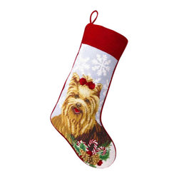 """Peking Handicraft - Yorkie Needle Point Stocking - With its charming vintage design and intricate needle point quality– our adorable pet stockings are ready to fill with toys and treats for your best friends!  This well made stocking features a plush velveteen color coordinated back and is meant to last for years!  Indeed Decor will donate 20% of profits to animal rescue charities.  Dry Clean Only. 11"""" x 18""""."""