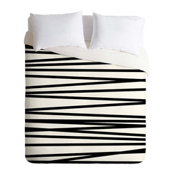 DENY Designs - DENY Designs Khristian A Howell Crew Stripe BW Duvet Cover - Lightweight - Turn your basic, boring down comforter into the super stylish focal point of your bedroom. Our Lightweight Duvet is made from an ultra soft, lightweight woven polyester, ivory-colored top with a 100% polyester, ivory-colored bottom. They include a hidden zipper with interior corner ties to secure your comforter. It is comfy, fade-resistant, machine washable and custom printed for each and every customer. If you're looking for a heavier duvet option, be sure to check out our Luxe Duvets!