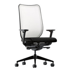 Hon - Nucleus Chair - Whether you're looking for comfort, style, durability, or adjustability, you'll find it all — and more — with this task chair. It wraps you in comfort, with an advanced suspension seat and your choice of mesh or upholstered backs. It swivels, tilts, raises and lowers, and you can adjust the height and width of the sleek aluminum arms, or go without. Relax — and get to work.