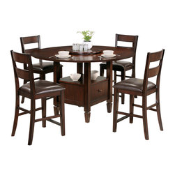 """Steve Silver Furniture - Steve Silver Gibson 6-Piece Drop-Leaf Counter Table Set with Ladderback Chairs - A marriage of form and function, the Gibson Dining Collection, offers a clean, contemporary style with extra storage space options. The versatile Gibson 2-in-1 drop leaf table features a storage base that can be used as a 30"""" table or a 36"""" counter table with the addition of the 6 inch tapered legs. The beautiful table measures 42"""" square or 59"""" round with the drop leaf opened. Surround with any of the matching Gibson chairs, and you have a set that is much more than a place to dine."""