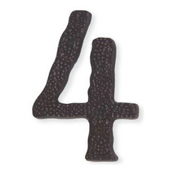 Atlas - Long Jagged Hammered House Number 4 - HN4L-O - Color: Aged BronzeManufacturer SKU: HN4L-O. Projection: 0.25 in.. Made from metal. 5.5 in. L x 3.8 in. W