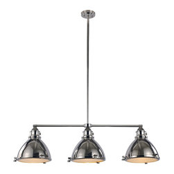 Trans Globe Lighting - PND-1007 PN 3 Light Island Pendant - Adjustable - Nostalgic headlamp style pendant light has knobs to open lens cover. Frosted glass lens has prismatic texture to diffuse glare. Height adjustable rods included. Perfect compliment to nautical and industrial dEcor styles. Choose antique look in polished nickel, or rustic weathered bronze.