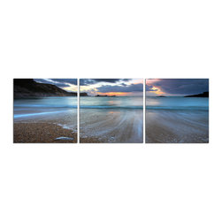 Elementem - Receding Tide At Sunset Print - This frameless triptych photograph of the ocean at its smoothest is printed on vinyl and mounted on a wooden MDF frame.   We laminate over each of our photos to allow them to be easily cleaned and protected.  Packed with wall hangers, they are easy to install.