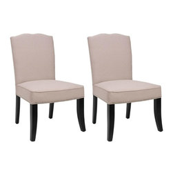 Safavieh - Lulu Side Chair - Despite the formal lines of the Lulu side chair, the bowed front legs, finished in black, pure linen fabric in taupe, and a well-padded seat lend a relaxed aspect.