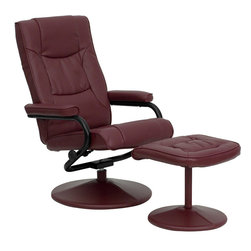 Flash Furniture - Flash Furniture Contemporary Burgundy Leather Recliner & Ottoman w/ Leather Wrap - Burgundy Leather Recliner & Ottoman w/ Leather Wrapped Base - BT-7862-BURG-GG belongs to Contemporary Collection by Flash Furniture Recline in your favorite position with this comfortable recliner and ottoman set. This set features thickly padded arms and leather wrapped bases. This set is not only perfect in the home, but makes for a great addition in the office when you need to relax for a bit. The durable leather upholstery allows for easy cleaning and regular care. [BT-7862-BURG-GG]  Recliner (1), Ottoman (1)