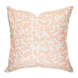 """Belle & June - Pod Decorative Throw Pillow in Melon - Rustic, organic yet supremely elegant, this designer decorative pillow will add subtle charm to any bed, chair or sofa. Available in a fabulous palette of stylish colors, this hand printed pillow instantly enhances any room its in. Dimensions: 22"""" x 22"""""""