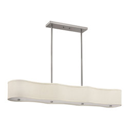 Hinkley Lighting - Cirrus 6-Light Island Fixture - Brushed Nickel finish with ivory fabric hard-back shades and high impact white acrylic lenses. The Cirrus collection is aptly named for its resemblance to the clouds in the sky. Soften your design with these elegant fixtures in any space. 8.5 in. Depth; 2-4 in., 2-6 in., 2-12 in., 2-24 in. Stems included; 11.5 in. Minimum height. 120 in. of leadwire for installation. Canopy dimensions: 4.75 in. W x 16.5 in. L.