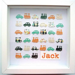 baby gift. custom personalised art. boy's traffic: cars and trains. - Personalised art for nursery, child's bedroom or playroom. Celebrate the birth, christening or just so say 'I Love You'