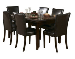Homelegance - Homelegance Belvedere 6 Piece 78 Inch Dining Room Set - The beveled wood edge of these burnished espresso finished tables softens the transitional Belvedere collection. Inset display shelving and decorative faux marble inlay further compliment the design.