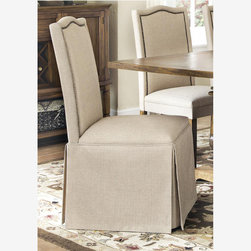 2 PC Parkins Coffee Wood Dining Parson Chair Skirt Coaster 103713 - Features
