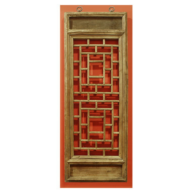 China Furniture and Arts - Window Panel Shutter (1) - Once used as a window shutter in a traditional village house in Zhe Jiang Province, China, some panels are as old as 60-80  years old. Our hand carved hardwood window panel will no doubt supply its own special intrigue, whatever surface it decorates. Sizes are approximate. Metal hangers included.