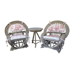 """Pre-owned Toile Upholstered Willow Furniture  - 3 Piece Set - Made in the 1980s from natural materials in the south, this set has so much to offer to any sun porch or cottage!  The chunky willow branches make a perfect medium for furniture - it is sturdy and long lasting!      This 3 piece set includes a rocker, an arm chair, and a round side table.  It also includes the red toile cushions as shown (though they are faded, they are in great shape), ready for a fresh cover to match your home!     The rocker is 39""""x39"""" x42"""" H;   The arm chair is 39w x 32D x 43.5""""H.   Both seats are 23""""wx21""""D and are 21"""" off the floor.    The 3 legged round table has an aluminum top, and measures 25.5""""diameter and 29.5""""H."""