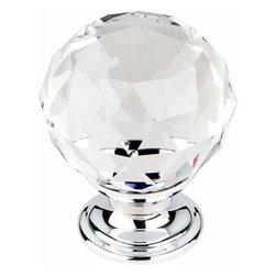 Top Knobs - Top Knobs: Clear Crystal Knob 1 3/8 Inch W/ Polished Chrome Base - Top Knobs: Clear Crystal Knob 1 3/8 Inch W/ Polished Chrome Base