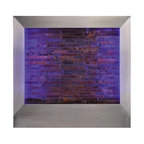 "Indoor Wall Fountains With Light - 31.5"""" Stainless Steel wall Fountain w/Slate tile & LED multi color light"