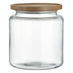 Montana 96 oz. Acacia and Glass Jar - A beautiful acacia wood lid adds natural warmth to the classic glass canister for storage and display. Tight silicone seal keeps contents fresh.