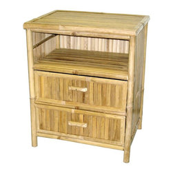 Bamboo54 - Natural Bamboo Nightstand with 2 Drawers and - Wonderful for use as a nightstand or end table. Two drawers for storage. Natural Bamboo construction. Natural Bamboo finish. 21.75 in. W x 17 in. D x 27 in. H