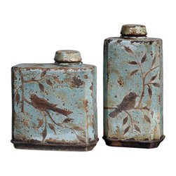 Uttermost - Freya Light Sky Blue Containers, Set of 2 - These Ceramic Containers Feature A Distressed, Crackled Light Sky Blue Finish With Antiqued Khaki Undertones. Removable Lids. Sizes: Sm-11x12x5, Lg-8x16x5