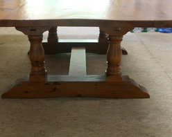"84"" square farm table from reclaimed pine - Made by http://www.ecustomfinishes.com"
